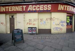 'Do not be afraid' advises the writing on the wall. Traders in this district are most afraid of the forthcoming trams and the impact that the roadworks has on their businesses.
