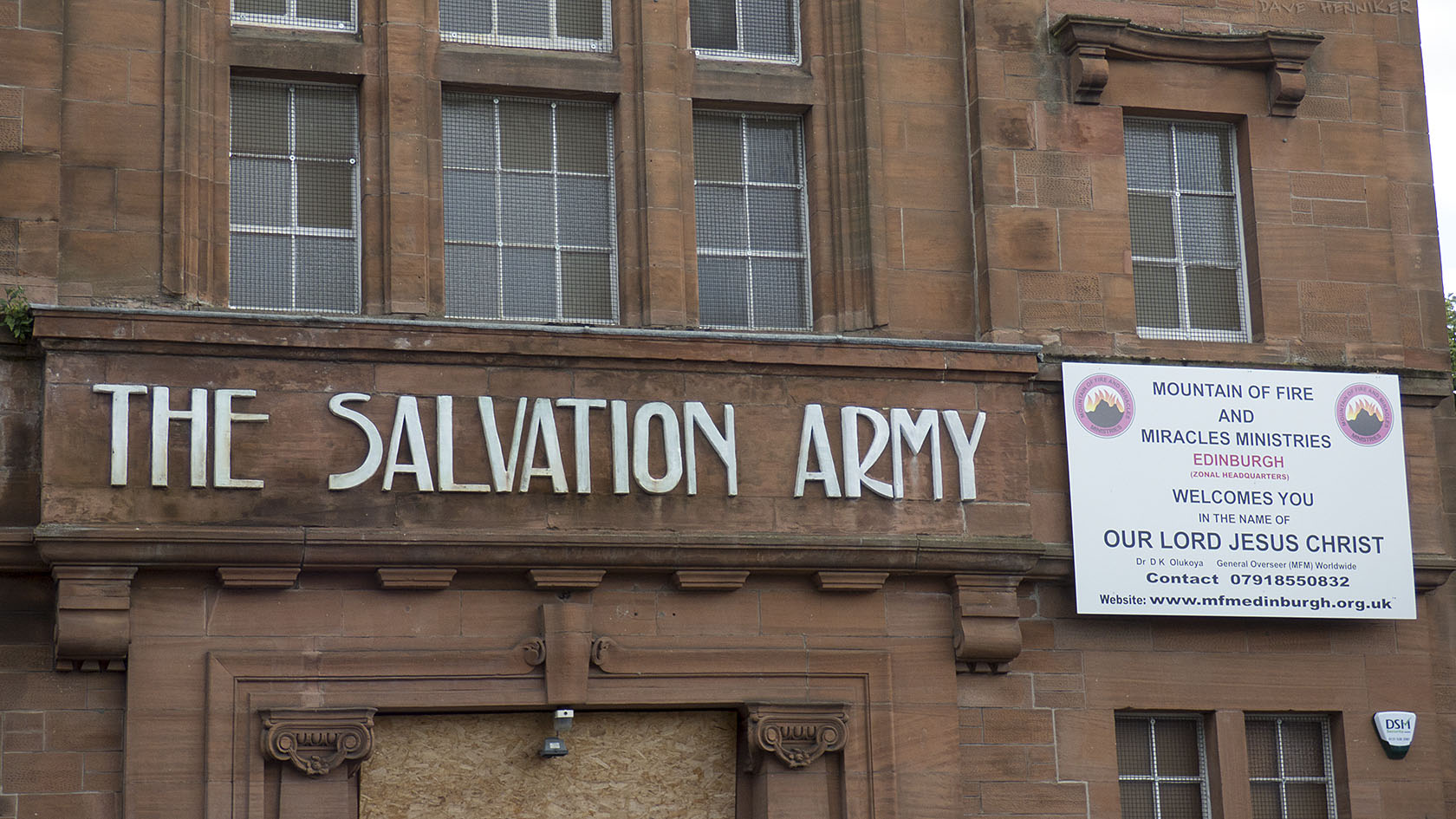 No longer the home of the Salvation Army but now the MOUNTAIN OF FIRE AND MIRACLES MINISTRIES. It would be a shame to tear down the art deco lettering.