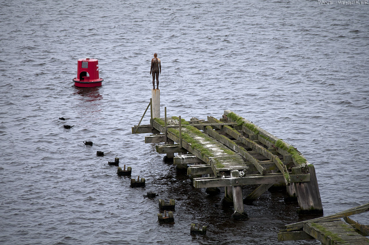 Three shots of the Gormley statue from Ocen Terminal car park. The old wooden pier shows the ravages of time.