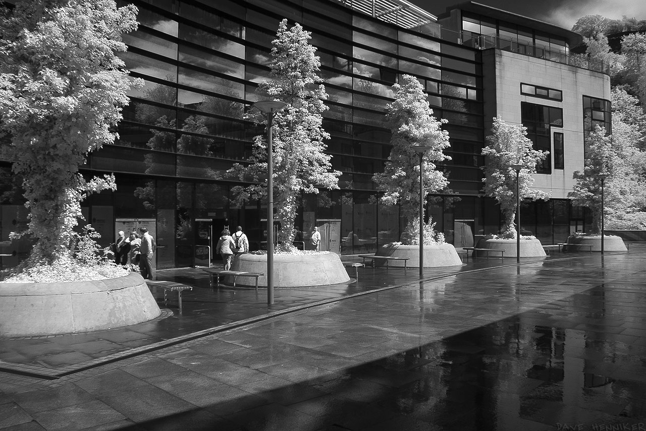 The first of 3 infrared photos taken at the end of May 2015. This is a lane beside the Omni Centre in Leith Street / Leith Walk opposite the Picardy Place roundabout.