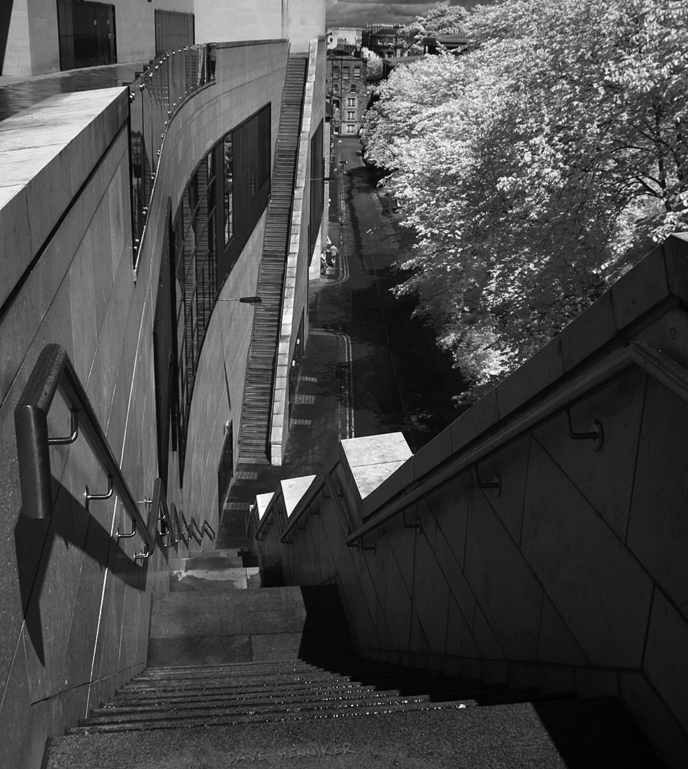 The Omni Centre address is Greenside Row but that really refers to the seldom visited lane at the back, at the foot of Calton Hill. This infrared photograph shows 2 rather long stairways.