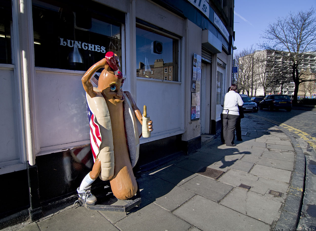 Just round the corner from Great Junction Streeet is a café with this eye-catching Hot Dog Man anointing himself with ketchup. The stuff of nightmares?