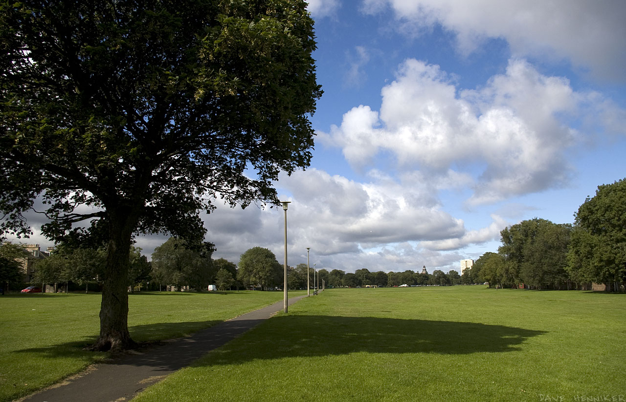 Looking west from the east end of Leith Links. Claremont Park is the road running along the left side.