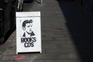 I like the excellent picture of Elvis Presley outside the shop Elvis Shakespeare.