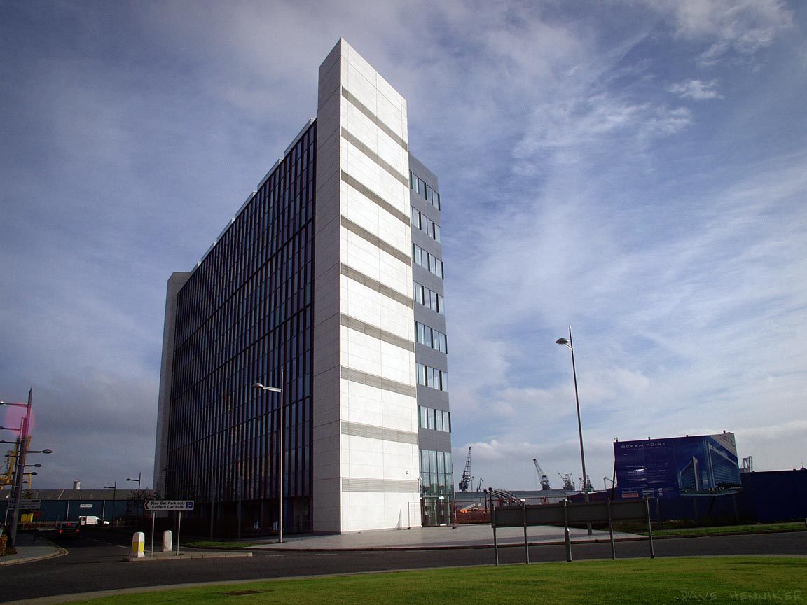 A closer wide-angle look at the empty edifice, photographed from the roundabout at the end of Britannia Way.