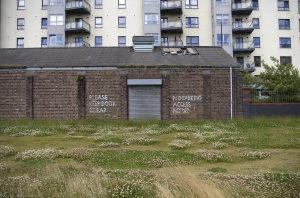 The long grass and flowering clover belie the painted statement on the wall. Behind the brick garages is the new housing development of Portland Gardens. Photo taken from the east end of Ocean Drive next to the Ocean Terminal Shopping Centre.