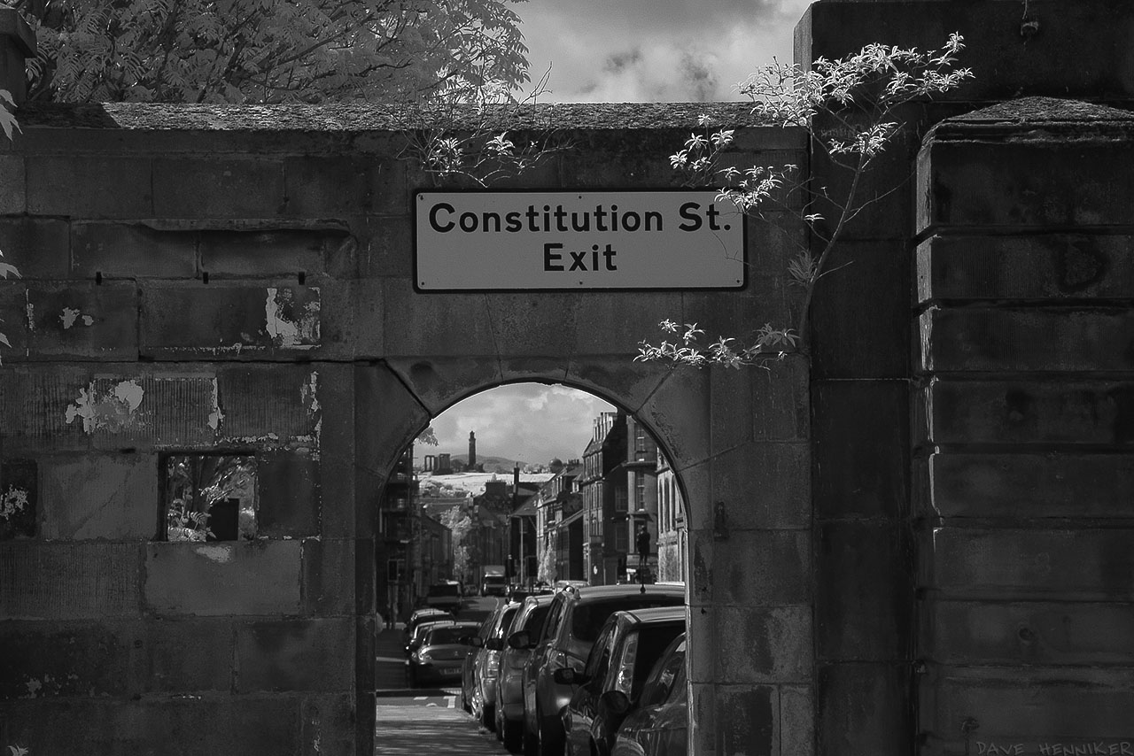 The Consitution St Exit frames Calton Hill and the Nelson Monument.