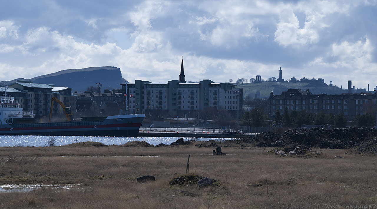 Same view but zoomed in on the Crags and Calton Hill.