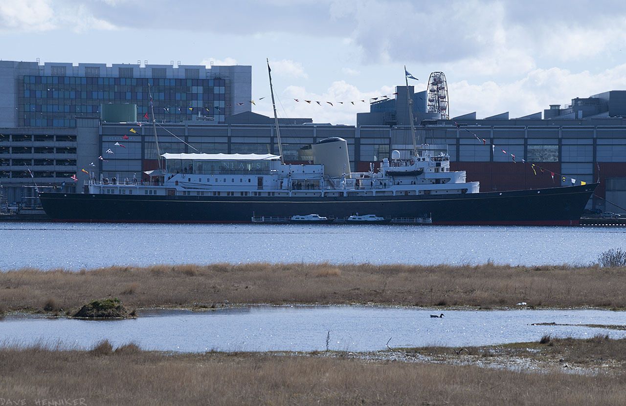 The Royal Yacht Britannia is moored in front of Ocean Terminal.