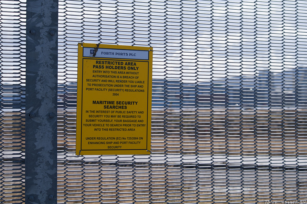 RESTRICTED AREA meaning you're likely to be arrested if you enter. There may be people with binoculars in the Forth Navigation Service & Harbour Office building...