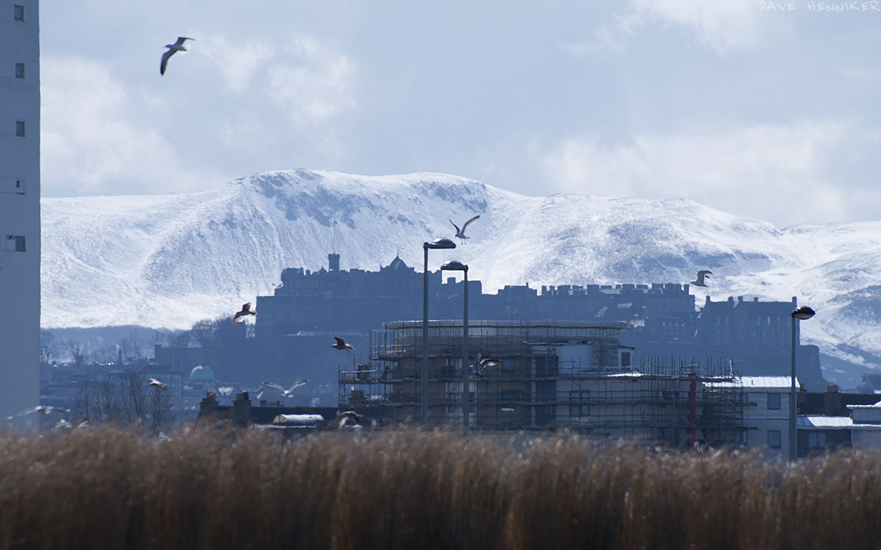 Caerketton appears to loom over Edinburgh Castle, even though they're 7.4km apart.