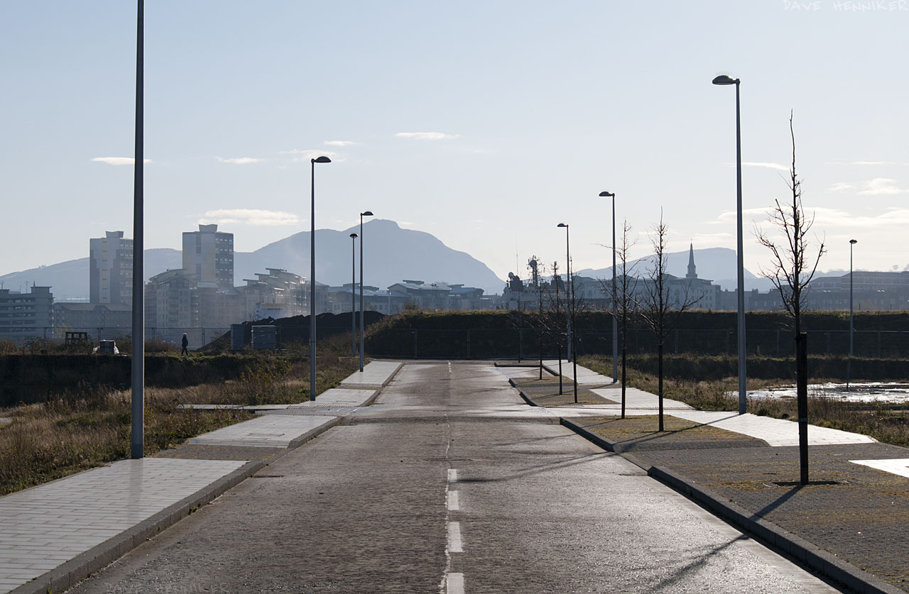 Similar to W Harbour 10 but zoomed in more with the Pentax K7 DSLR instead of the Lumix camera. Left to right: Citadel Court, Persevere Court, Arthur's Seat and Salisbury Crags.