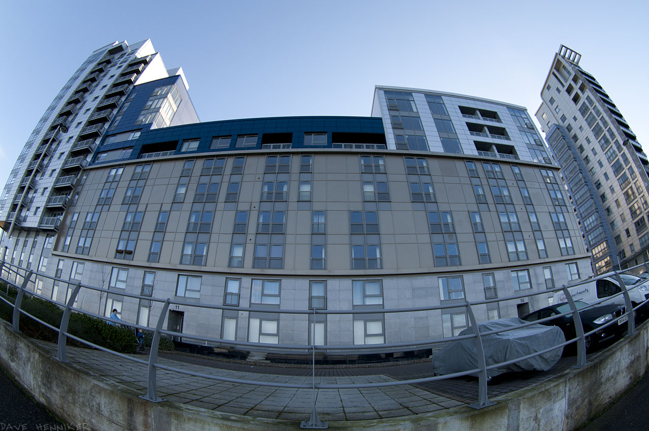 Four fisheye shots of the new apartment buildings.