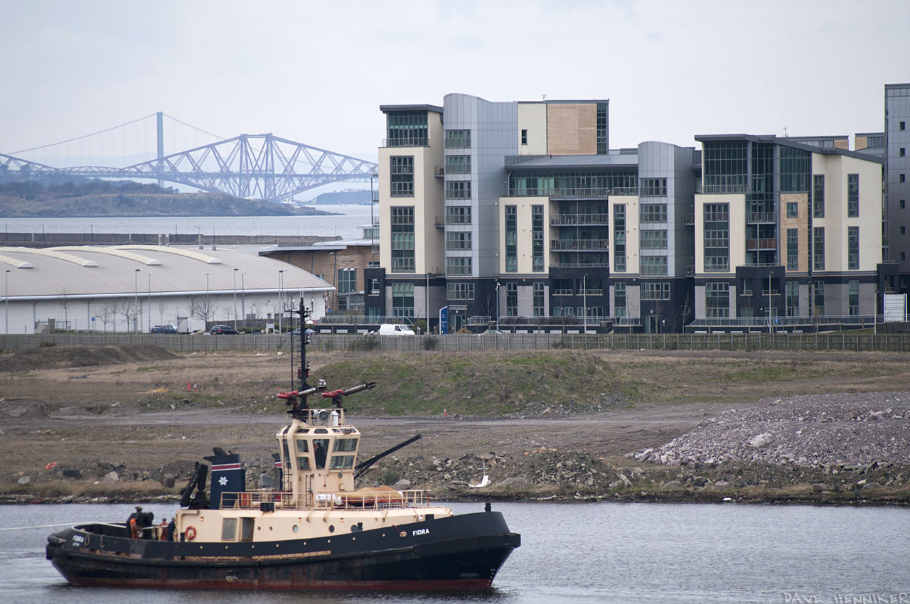 Looking across Western Harbour from Ocean Terminal. A tug boat is called Fidra after the island in the Firth of Forth.