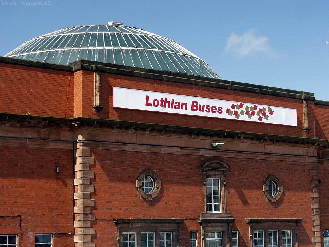 Traditional red bricks and the glass dome make this building unusual in Edinburgh. Lothian Buses were formerly known as LRT (Lothian Regional Transport). Prior to that they were called Edinburgh Corporation Transport.