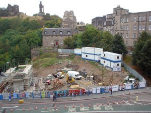 Added later, this earlier photo shows the ground being prepared after the previous bridge was removed. For a while, the old house above the site had uninterrupted views...