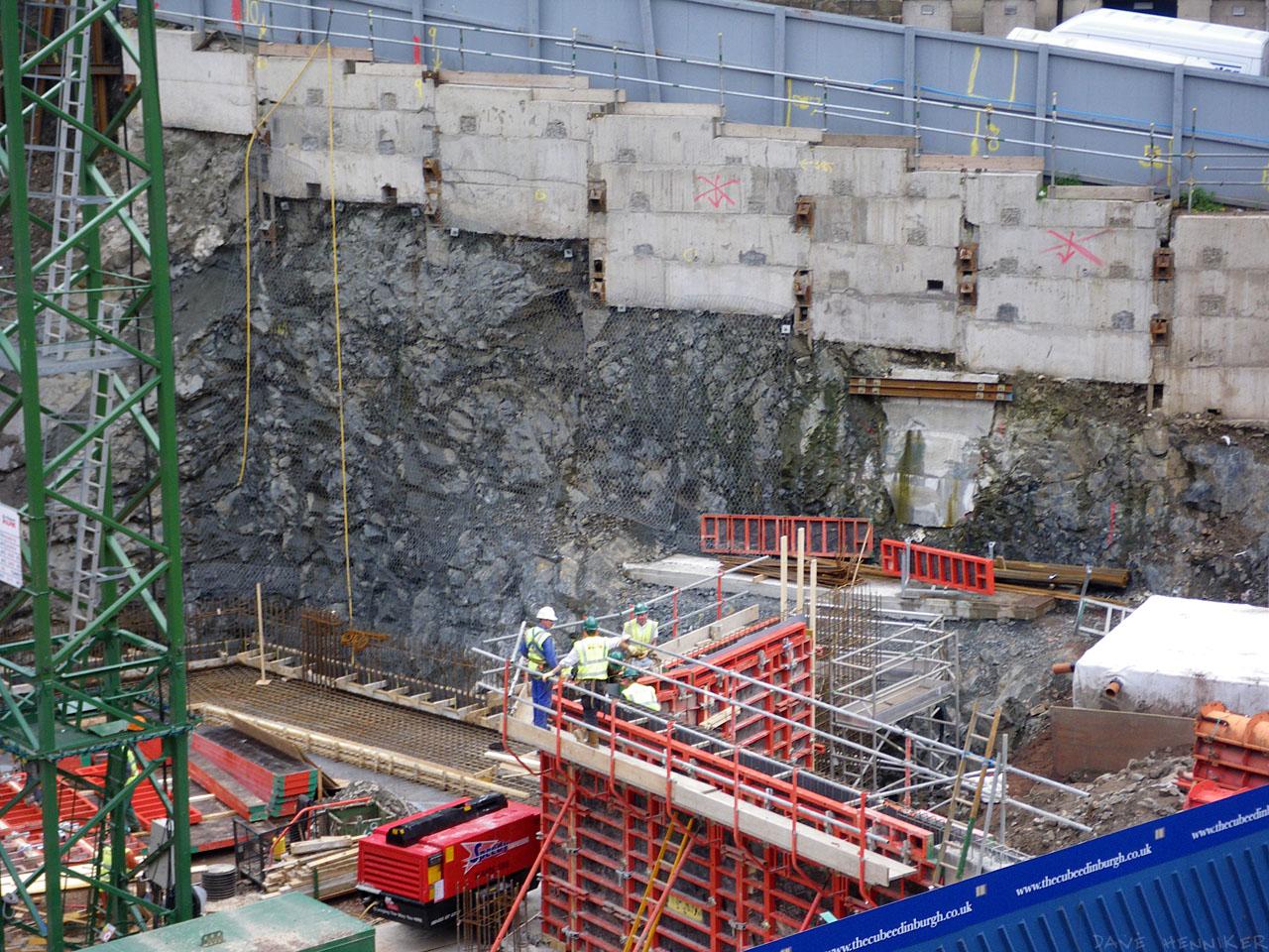 Reinforced concrete slabs prop up this part of Calton Hill.