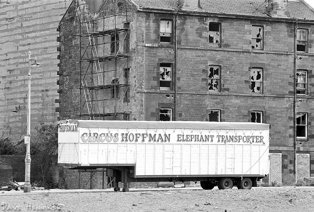 This area has been completely rebuilt, but back in 1978 the circus came to town and camped here. The Elephant Transporter looks rather surreal against the desolate background.
