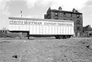 The same subject as above, through a wide-angle lens. Gavin Dickson - who lived nearby - tells me the elephant transporter was parked in Burlington street which was demolished by Edinburgh Corporation.