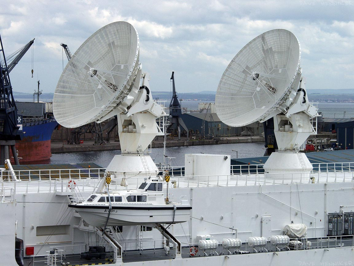 From higher up (on top of the convenient multi-storey carpark) there's a better view of two of the large dishes as well as a small landing craft.