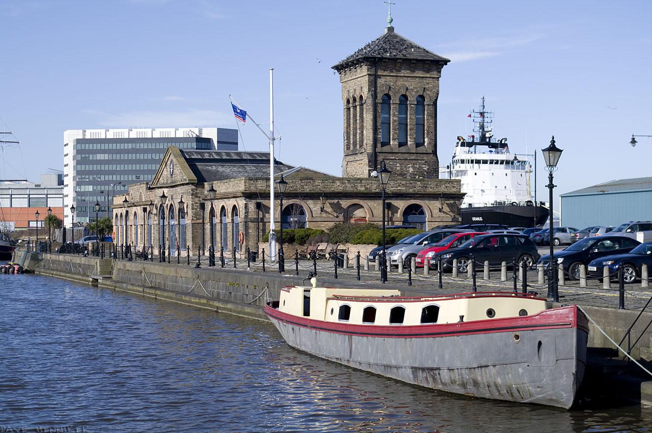 The narrower part of Albert Dock, near its western entrance.