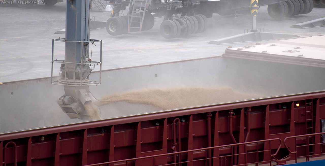 Zoomed in more for a closer look at the light brown substance being loaded into the hold.