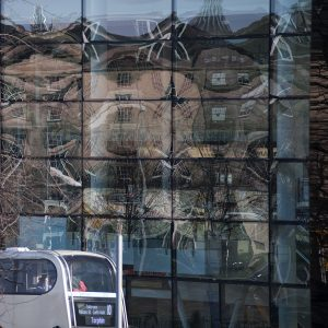 March 2013 saw me taking a leisurely stroll down Leith Walk. York Place was closed to traffic and buses were diverted up Leith Street passed the Omni Centre's windows with their distorted reflections.