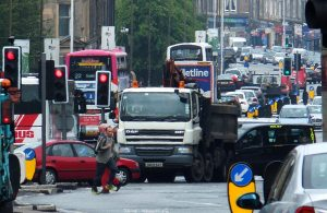 More Leith Walk traffic, slightly distorted by the refraction of warm air and exhaust fumes.