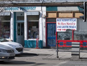 Two shops, one presumably catering to cats and dogs - the other has moved. I recently heard kebabs described as 'hospital waste on a stick'.