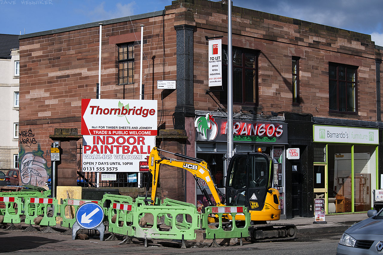 This is the leftmost end of a long, low, 2-storey red sandstone building near the foot of Leith Walk.