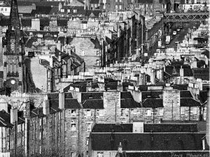 Pilrig Church is on the left. The old railway bridge over Leith Walk at Jane Street is at the top right of the picture.