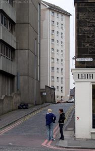 Leith Walk consists of numerous small streets joined together. Middlefield is one of them. The tower block is Inchkeith Court in Spey Terrace. The ugly concrete structure on the left is Shrubhill House.