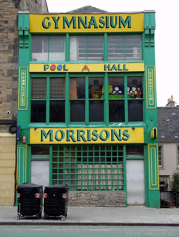 This distinctive building has recently had a green and yellow paint job. It's quite far down Leith Walk on the left hand side.