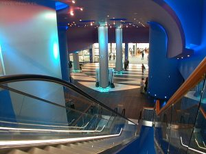 Looking down one of the cinema escalators.