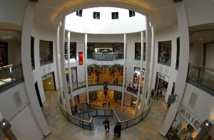 Another part of the building with a sort of cylindrical atrium. Debenham's department store lies beyond.