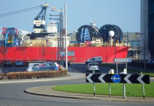 Dazzling colours and confusing signs greet the motorist down at the docks.