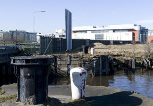 The entrance to Victoria Dock (on the left) is no longer navigable as Ocean Drive crosses it here. Victoria Dock is at the rear of the Scottish Executive building.