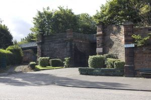 A few metres east is the entrance to Seafield Crematorium and Cemetery. A footpath passes above the entrance on a former railway line.