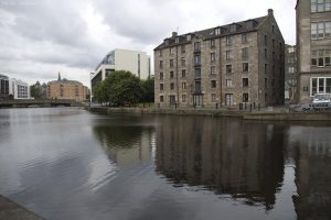 How this part of Leith looked in July 2007. The tidal barrage at the docks maintains a constant water level over a large area.