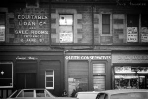 They actually had a political presence in Leith at this time, and here's a photo of their premises, squeezed in between a model shop, a pub and a pawnbrokers.