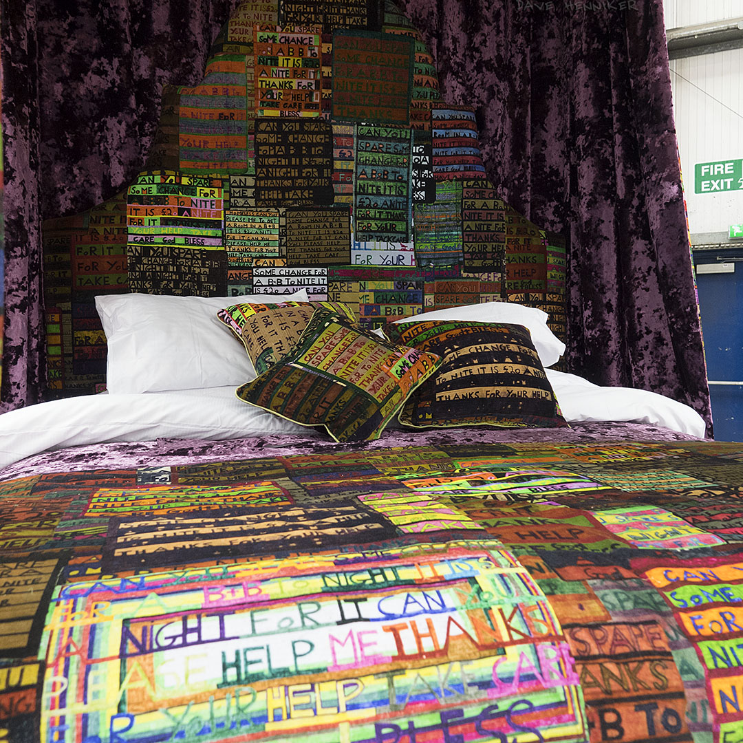 'Luxury four-poster bed designed with the help of Atholl Macfarlane of Remus Interiors, draped in sumptuous velvet printed with Stevie's signs.'