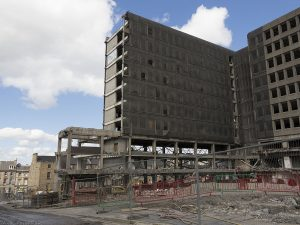 23rd June 2017 - demolition proceeds carefully because of nearby buildings.